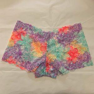 5/$15✨ VS PINK Rainbow Lace Cheeky Boyshort Panty